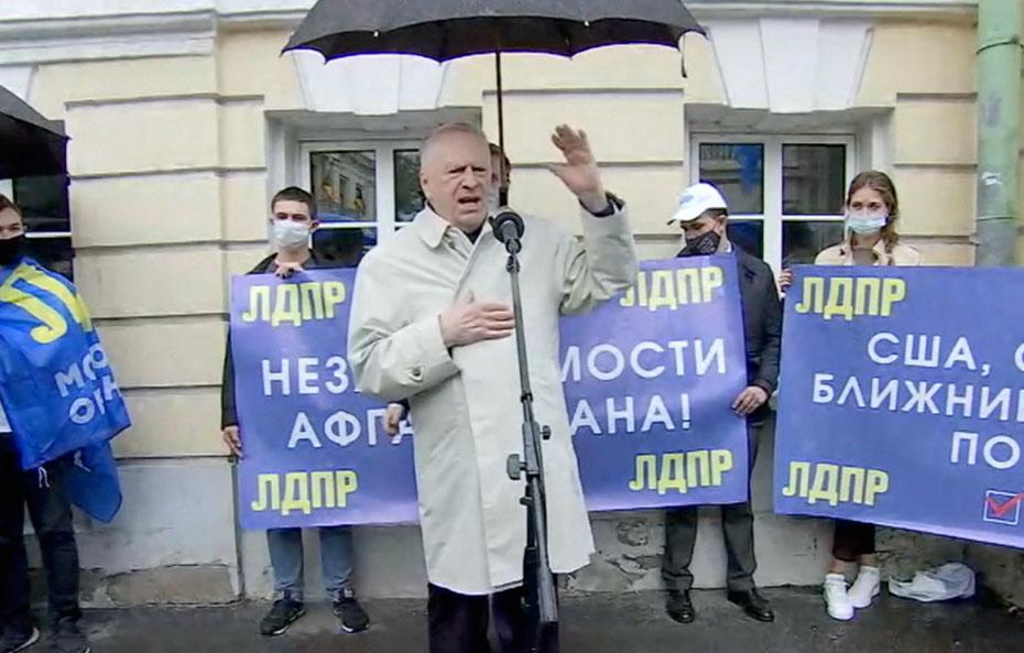 Владимир Жириновский провел митинг у посольства Афганистана и поздравил афганцев с «победой над Америкой»